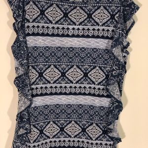 Fred David Tops - Fred David Bandana style top. Blue/white. Size M